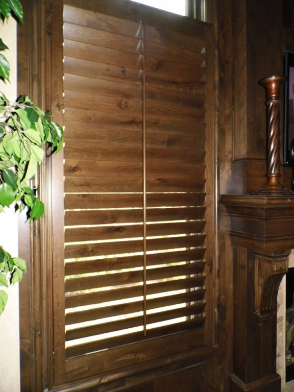 Custom Stained Knotty Alder Shutters